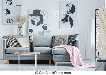 Pink blanket on grey sofa with patterned pillows in living...