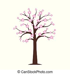 pink blooming cherry tree in spring