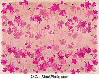 Pink blossom flower on parchment