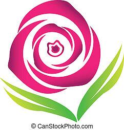 Pink blossom rose vector logo image