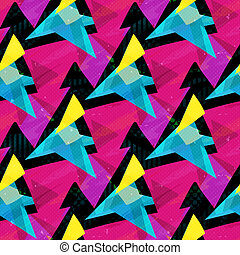 pink blue and yellow triangles on a black background seamless pattern