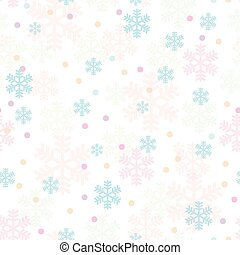 Pink blue Christmas snowflakes seamless pattern