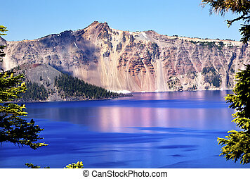 Pink Blue Crater Lake Reflection, Wizard Island, Blue Sky Oregon Pacific Northwest