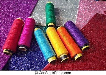 pink blue green purple orange yellow threads