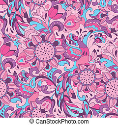 Pink blue pattern with bird Phoenix and sunflower