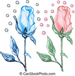 Pink & blue roses buds with diamond