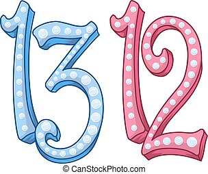 Pink Blue Shiny Number 12 13 For Bar Bat Mitzvah - Vector...