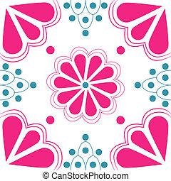 Pink & Blue Stylized Flower tile