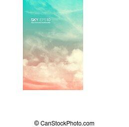 pink-blue, vertical, céu, clouds., realístico, vetorial,...
