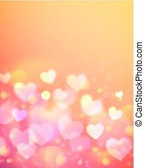 Pink bokeh effect vector shining orange background