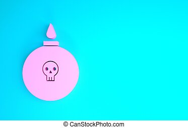 Pink Bomb ready to explode icon isolated on blue background. Minimalism concept. 3d illustration 3D render