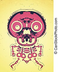 pink bone and skull structure with brown background
