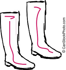 Pink boots, illustration, vector on white background.