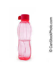 pink bottle of water plastic isolated on white background