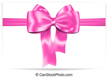 Pink bow - Beautiful pink bow with ribbon. Gift card. Vector...