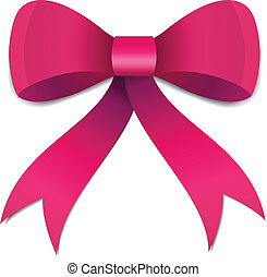 Pink Bow illustration - Big Pink Girls bow illustration with...
