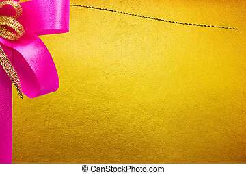 Pink Bow On Golden Background
