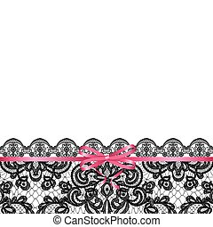 pink bow on lace background