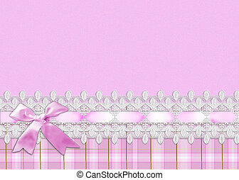 Pink bow on lace border
