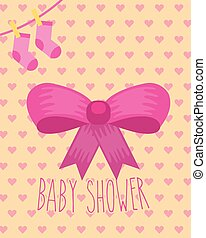 pink bow socks ribbon hearts background baby shower card