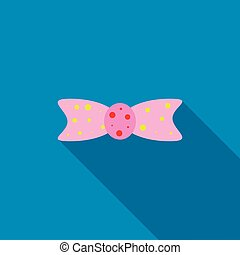 Pink bow tie icon , flat style