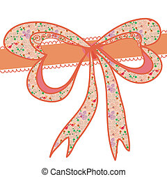 Pink bow with floral pattern