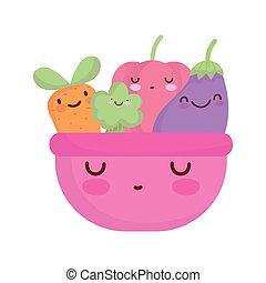 pink bowl with vegetables menu character cartoon food cute