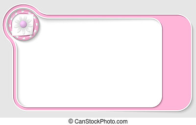 pink  box for text with arrows and flower