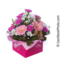 Beautiful pink themed floral arrangement in presentation box isolated over white background.