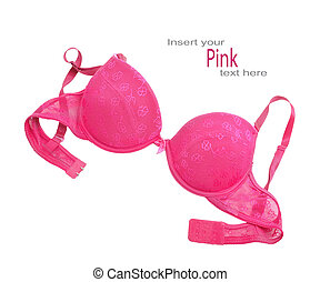 Pink bra isolated over white background