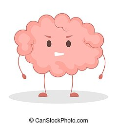 Pink brain character, angry sticker. Cute funny human organ.