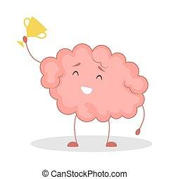 Pink brain character, happy sticker. Cute funny human organ.