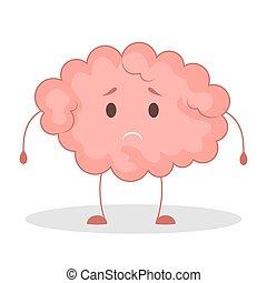 Pink brain character, sad sticker. Cute funny human organ.