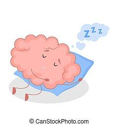 Pink brain character, sticker sleep. Cute funny human organ