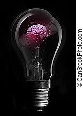 Pink brain inside light bulb