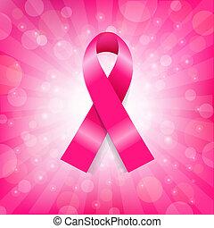 Pink Breast Cancer Ribbon Banner, Vector Illustration
