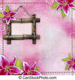 Pink bridal lilies border and frame