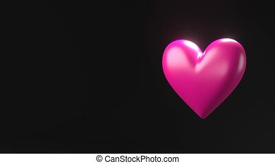 Pink broken heart objects in black text space. Heart shape object shattered into pieces.