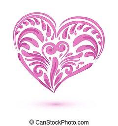 Pink brushstroke heart isolated on white