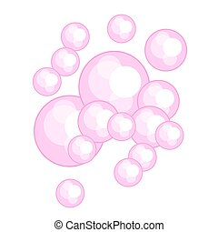 Pink bubble gum vector illustration. Soap foam.