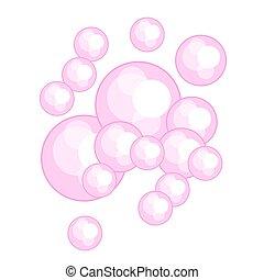 Pink bubble gum vector illustration. Soap foam.