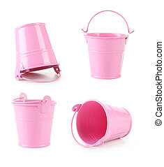 Pink bucket isolated on white