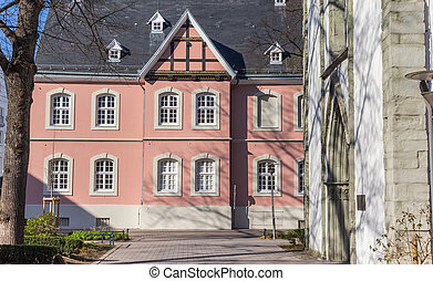 Pink building in the historic center of Lippstadt