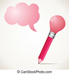 pink bulb pencil with message bubbl