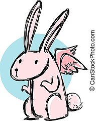 Pink bunny and wing