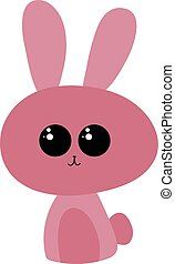 Pink bunny with cute eyes, illustration, vector on white background.