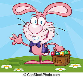 Pink Bunny With Easter Eggs