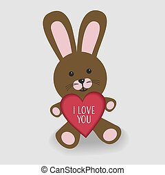 Pink bunny with heart I love you