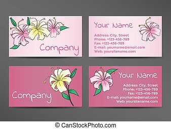 Pink business cards template with lily flowers