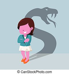 pink businesswoman with shadow snake